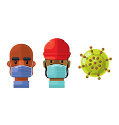medical professionals and a virus icon set 7 vector image