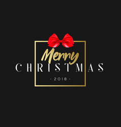 Merry christmas with red bow in frame luxury vector