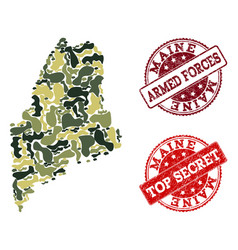 Military camouflage composition of map of maine vector