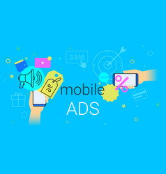mobile ads and marketing on smartphone creative vector image