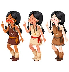 Native american indian girls in traditional vector