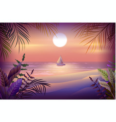 Night landscape of tropical island palm trees vector