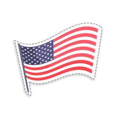 Old glory on pole usa flag vector