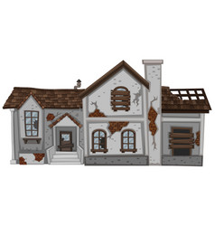 old house with brown roof vector image