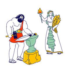 Olympic gods characters hephaestus or vulcan vector