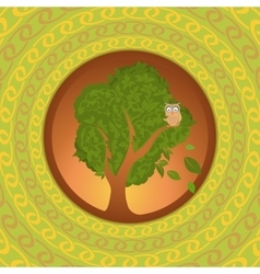 Owl on oak looking abroad vector image