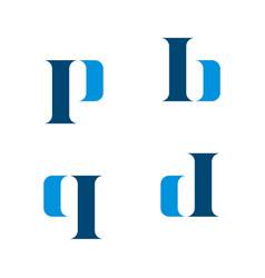 P b q d letter logo template design eps 10 vector