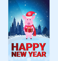 pig holding gift box wearing hat fir tree winter vector image