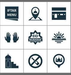 religion icons set with menu eid mubarak pray vector image
