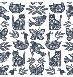 Scandi animals pattern vector
