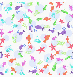 sea life seamless marine animals seamless pattern vector image