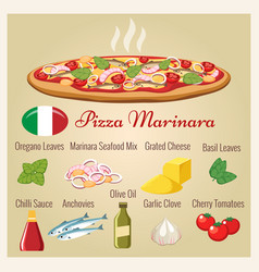 Seafood pizza with ingredients vector