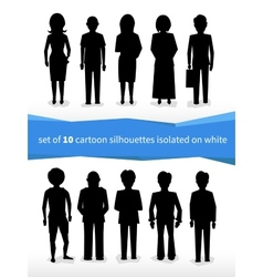 Set 10 cartoon silhouettes on white vector