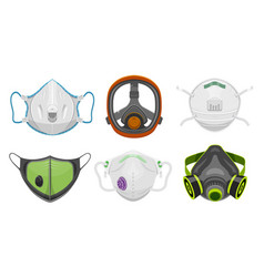 Set isolated gas respirator doctor face mask vector