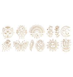 Set magic boho symbols golden minimal line art vector