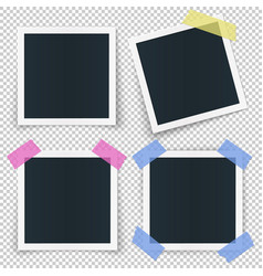 set of 4 photo frames stickied with colored vector image