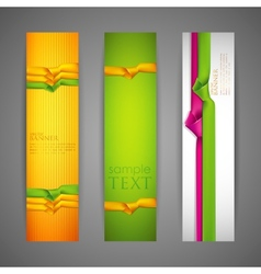 set of banners with multicolored ribbons vector image