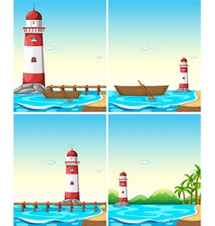 Set of lighthouse from different angle vector