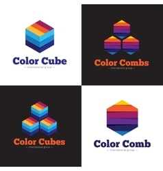 Set of minimalistic colorful cubes and vector