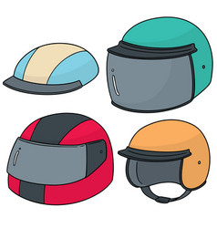 set of motorcycle helmet vector image