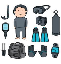 set of scuba diving equipment vector image