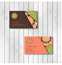 Set of two ornamental floral mandala cards vector