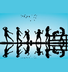 silhouette of children playing outdoor vector image