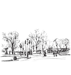 Sketch of trees Doodles winter landscape vector