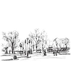 Sketch of trees doodles winter landscape vector
