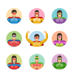 Super men avatars set vector