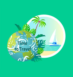 time to travel earth with seaside beach and sun vector image