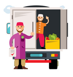 Unloading truck flat style colorful vector