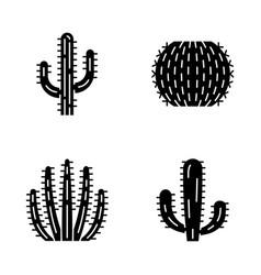 Wild cactus glyph icons set vector