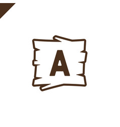 Wooden alphabet or font blocks with letter a in vector