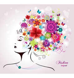 Beautiful style Woman with Flowers and Butterflies vector image