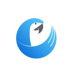 blue cockatoo logo made from circles vector image vector image
