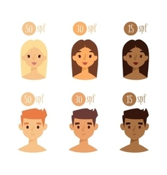 faces with skin tone spf vector image