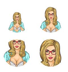 girl showing breast in bra pop art avatars vector image vector image