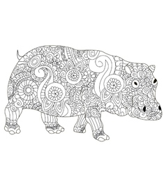 Hippopotamus Coloring book for adults vector image vector image