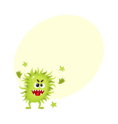 ugly green virus germ bacteria character with vector image vector image
