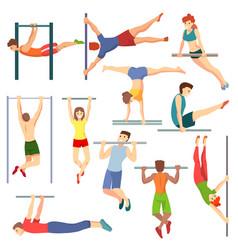 Athlete on horizontal bar vector