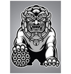 chinese lion statue vector image