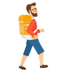 Man with backpack hiking vector image vector image