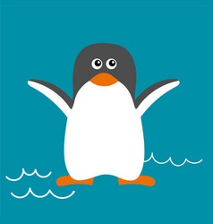 penguin in flat style vector image vector image