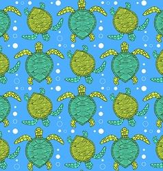 Sketch sea turtle pattern vector image
