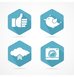 social icons set Flat Design vector image