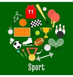 Sport symbols and sporting items round badge vector image vector image