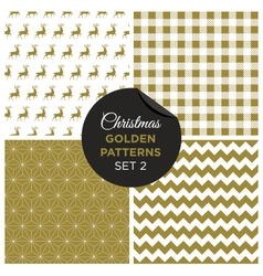 christmas golden patterns set 2 vector image