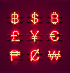 currency neon symbols set on the red background vector image