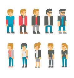 flat design teen students set vector image